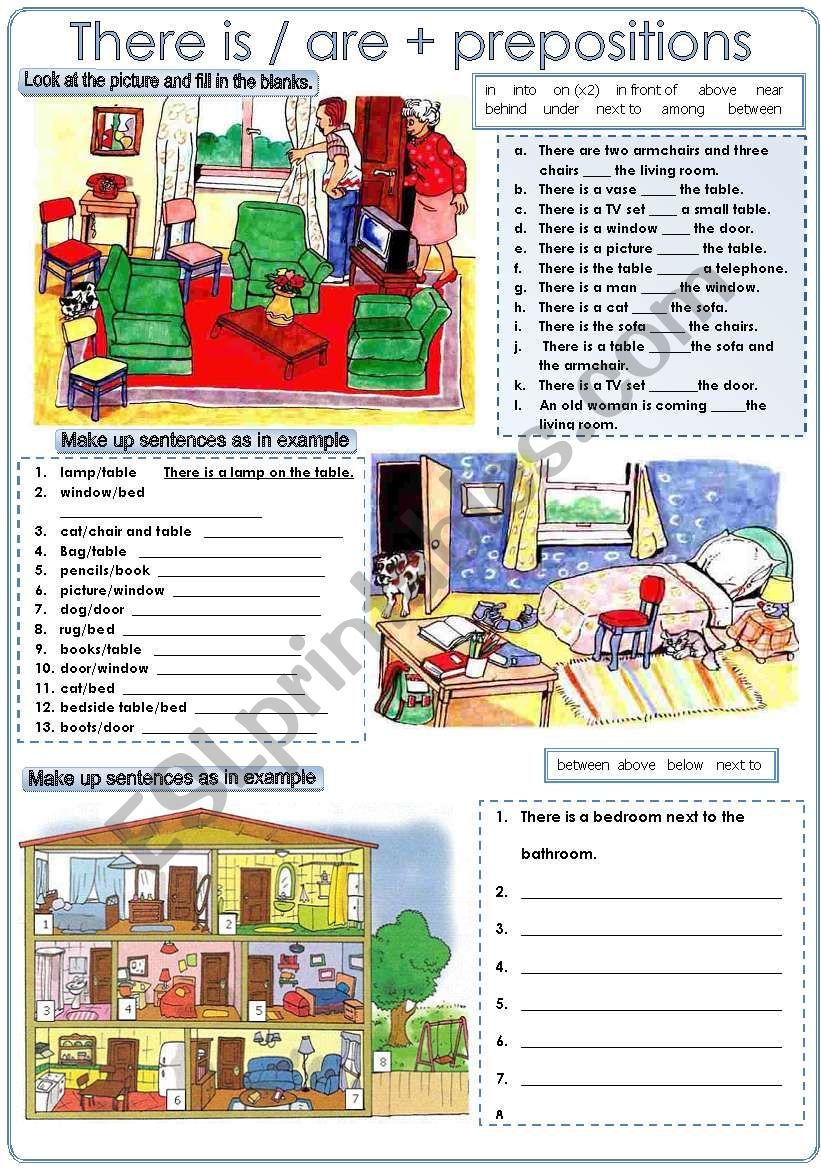 practice there is are and prepositions of place worksheets gram tica inglesa ingles ni os. Black Bedroom Furniture Sets. Home Design Ideas