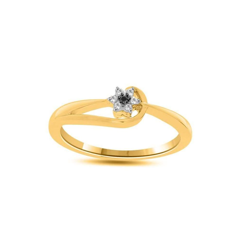 Natural Diamond Sterling Silver Yellow Gold Over Ring Sizes(5-10) MSRP New $1200
