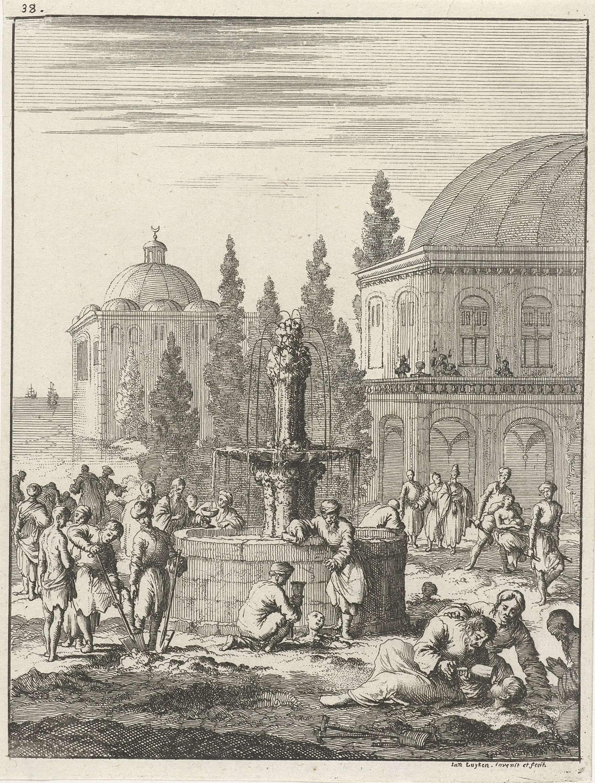 Jan Luyken | Heilzame fontein te Constantinopel waar de zieken in de bodem worden begraven en gedrenkt, Jan Luyken, 1681 | Prent linksboven genummerd: 38.