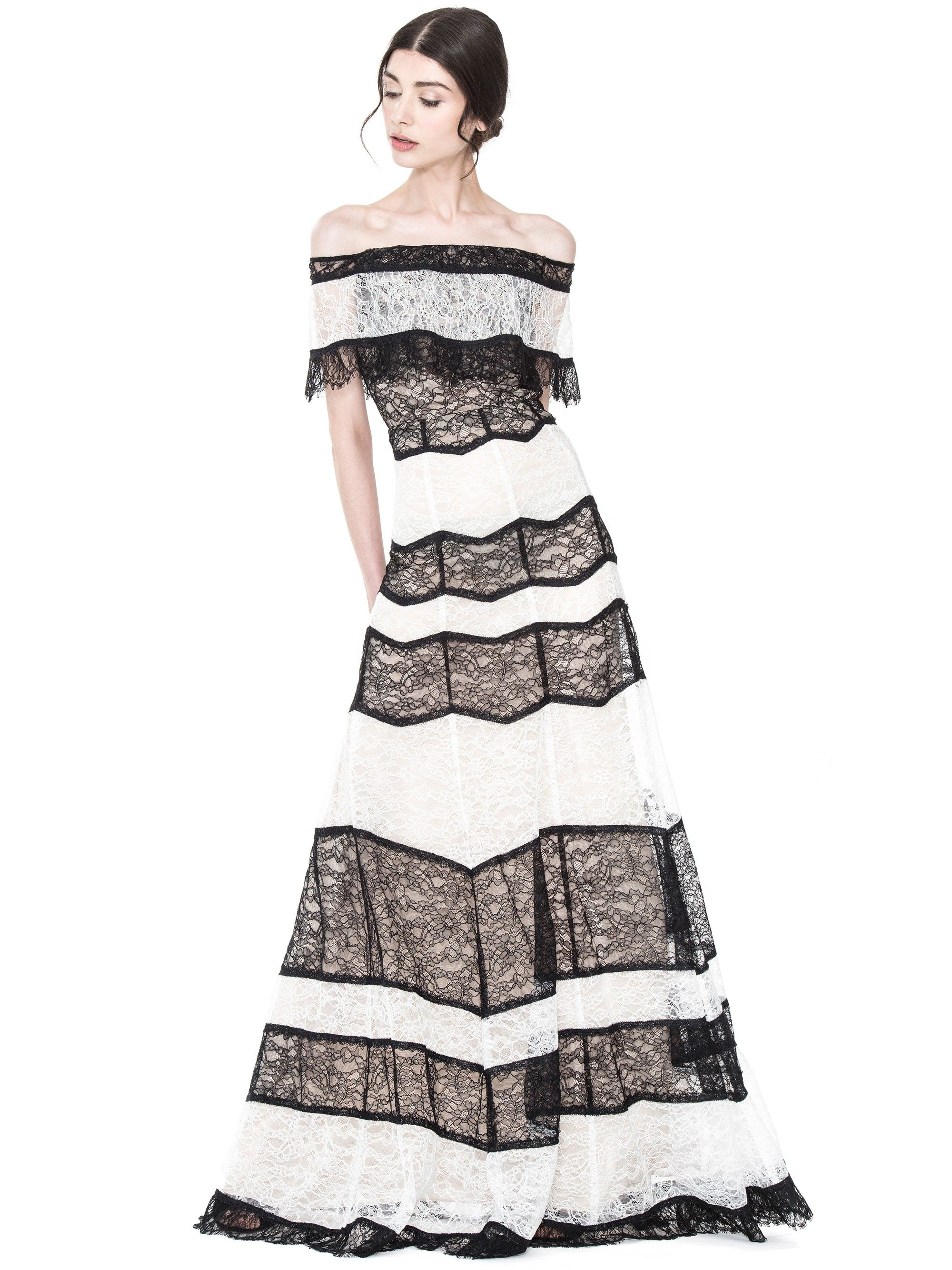 Alice and olivia anika off shoulder gown blackivory alice and olivia anika off shoulder gown blackivory aliceandolivia cloth ombrellifo Images