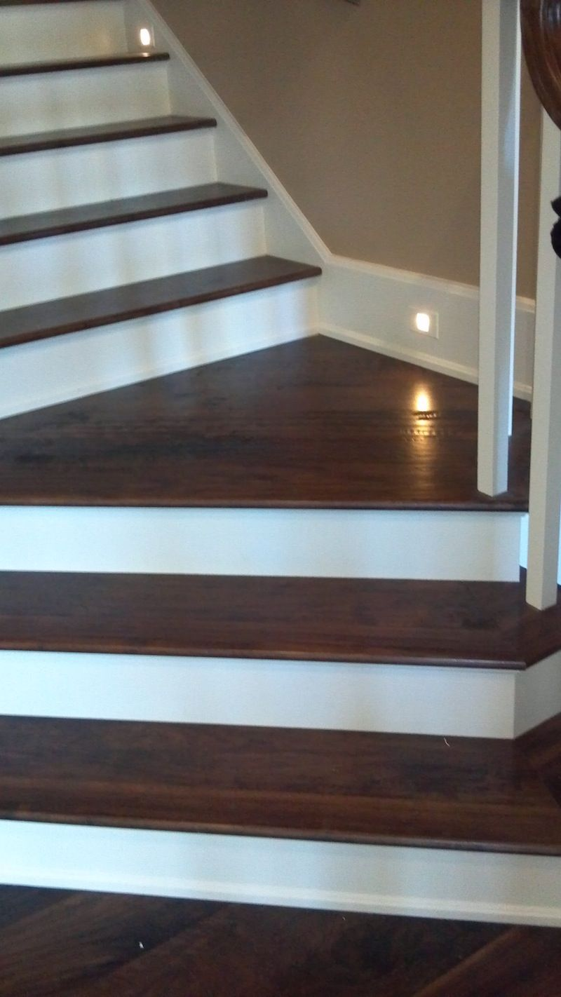 Lighting Basement Washroom Stairs: Hand Scraped Walnut Flooring