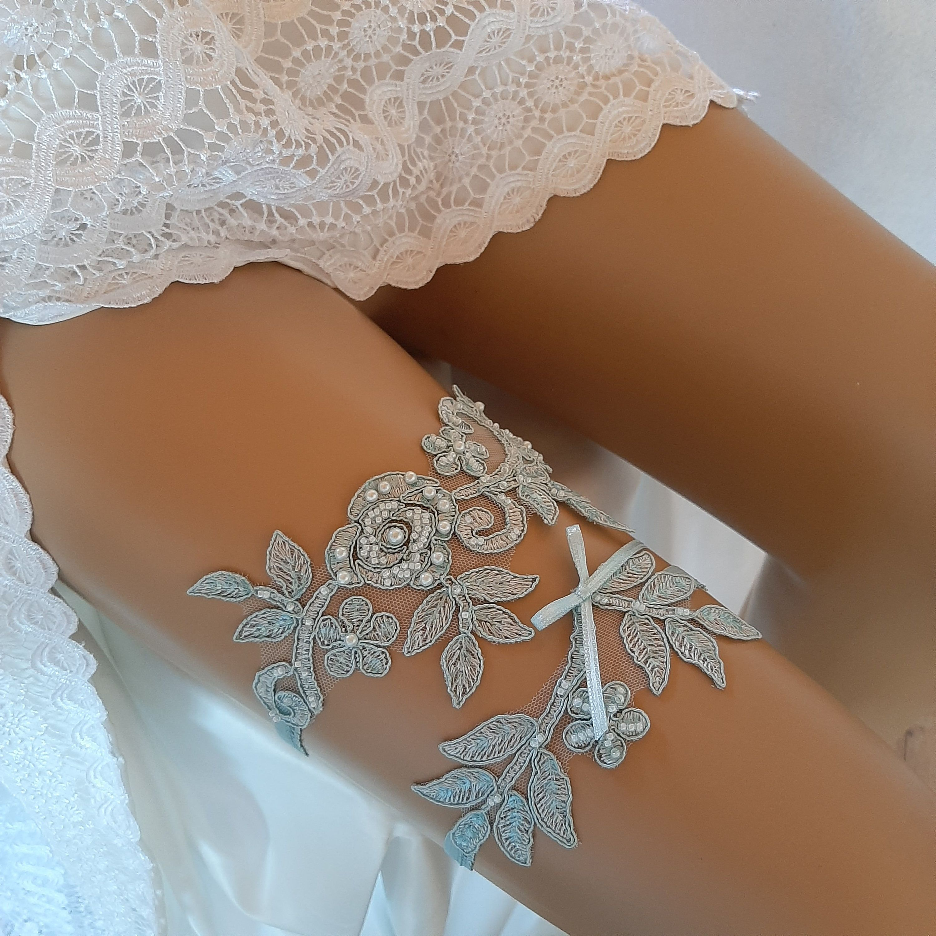 Wedding Bridal Lace Legs Garter Set Bridal Garters Lace Belt with Beads Toss Away Prom Garters