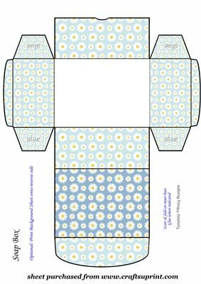 Blue daisy soap box 8 pinterest soap boxes box and for Soap box design template