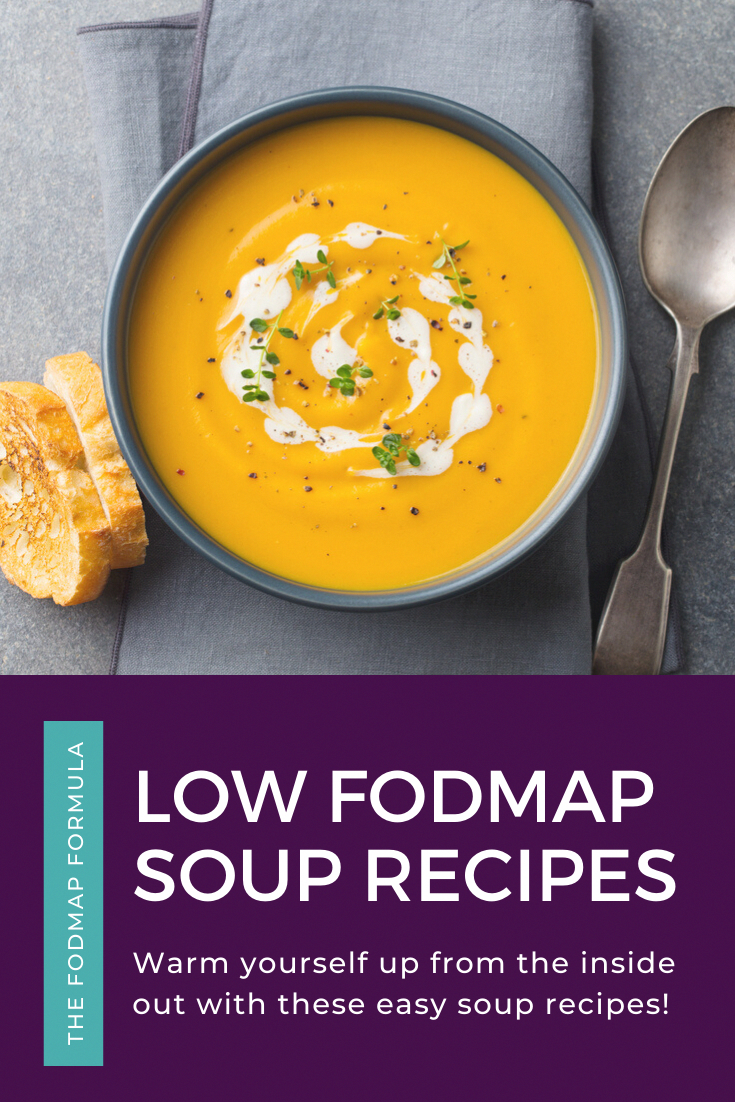Looking for a healthy lunch you can take on-the-go? These easy low FODMAP soups will hit the spot! FODMAP Recipes | FODMAP Diet | FODMAP Diet Recipes | FODMAP Diet Lunch |FODMAP  Lunch Recipes | Low FODMAP for Work | on-the-go | Make Ahead FODMAP Diet Dinner | FODMAP Dinner | FODMAP Dinner Recipes | FODMAP Appetizers #lowfodmap #glutenfree #soup #savoury www.fodmapformula.com #suzannesomersrecipes