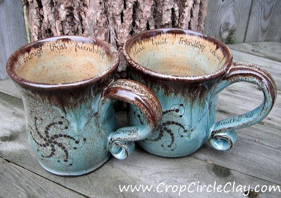 Pair of Personalized Ceramic Coffee Mugs  by CropCircleClay, $115.00