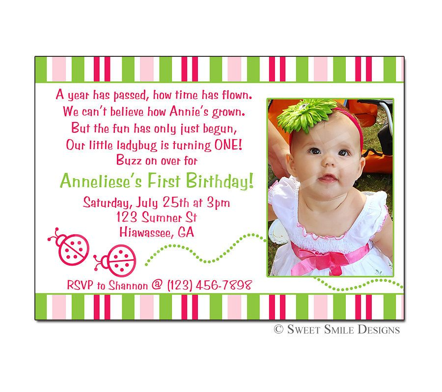 Photo Birthday Invitation Ladybug Printable Digital File 1st 2nd 3rd 4th Pink Green First 1500 Via Etsy