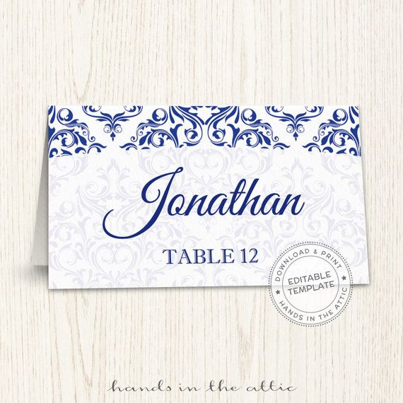Editable wedding place cards navy blue wedding printable seating