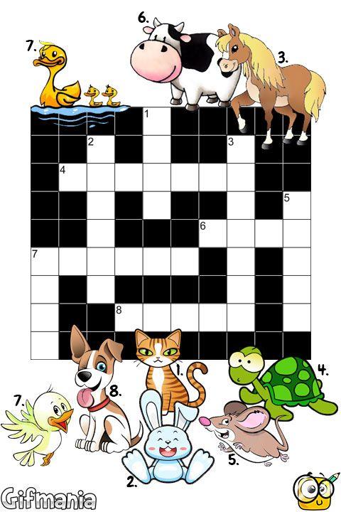 Escribe el nombre de estos animales en nuestro crucigrama ...