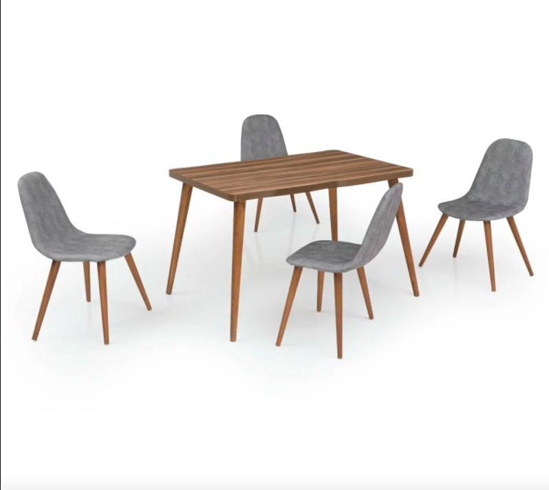 elda 4 kisilik mutfak masa sandalye takimi ceviz gri sandalye mavi mobilya mobilya fikirleri