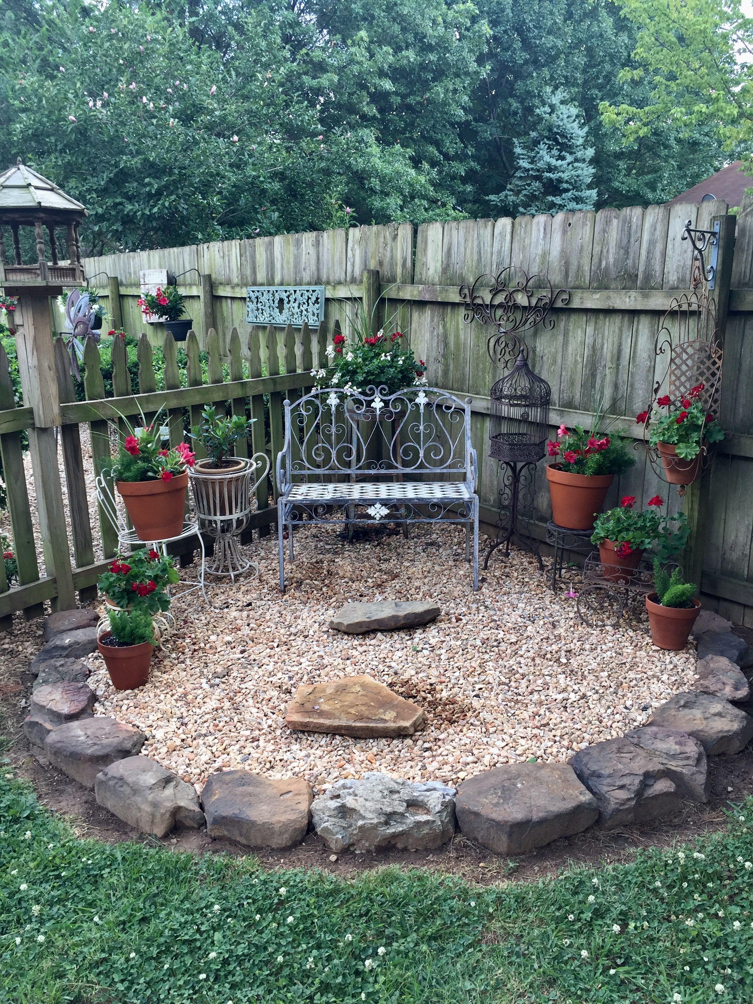 New corner bed we added this year .  Backyard garden, Garden yard