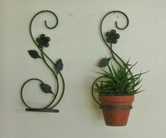 Pair Of Vintage Wrought Iron Plant Holder Hanger Black