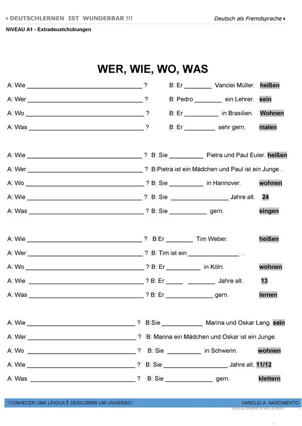 A1 - W-Fragen | Deutschunterricht | Pinterest | Worksheets