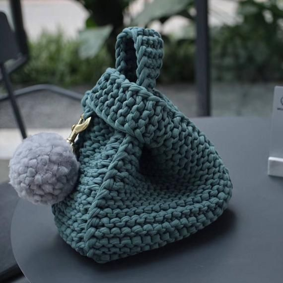 Wrist Bag, Handbag, Knit bag, Handmade, Tshirt yarn bag, Gift, Gift for her, Unique, Knitted bag, Crochet Bag