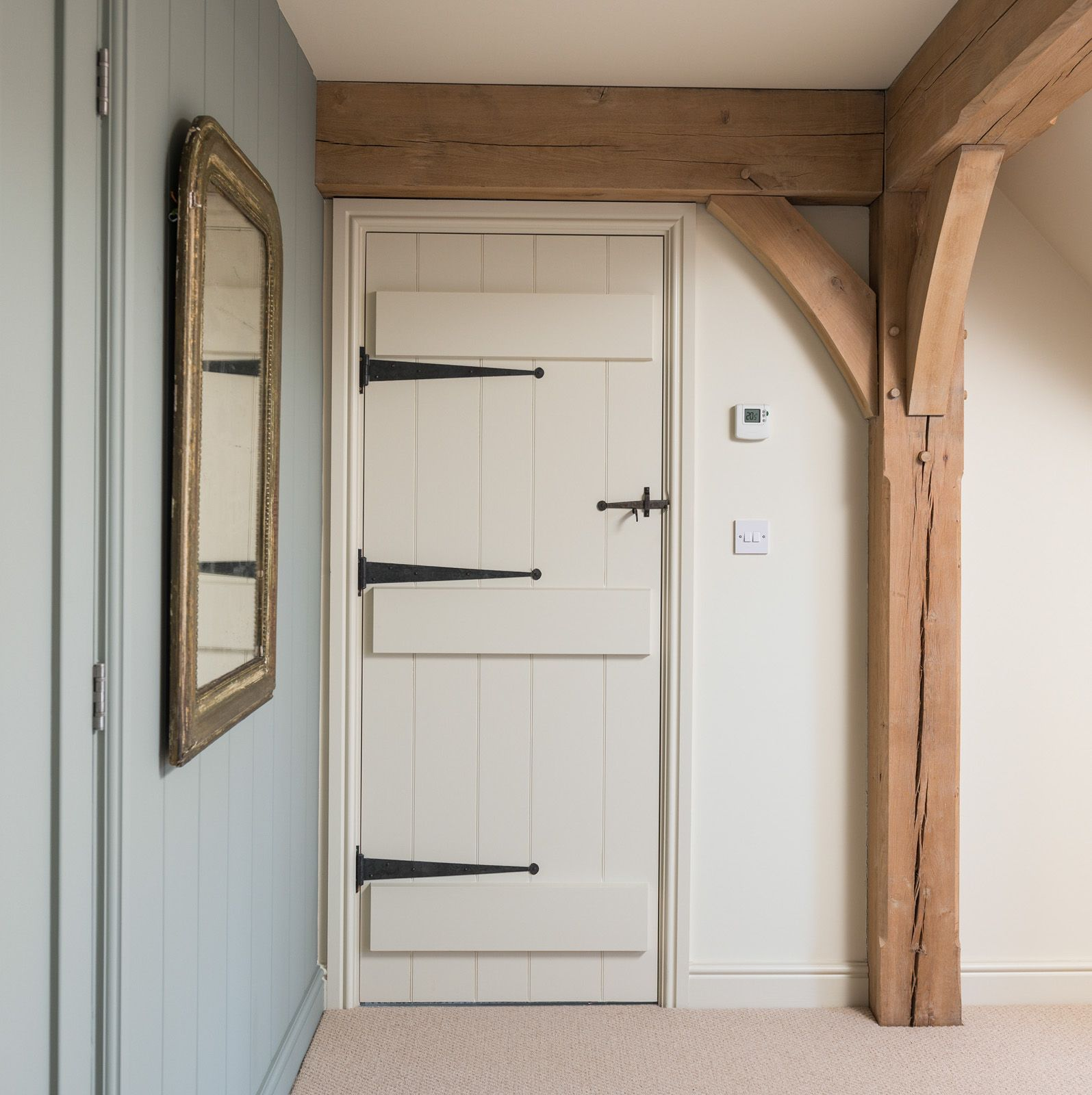 Painted softwood ledge and boarded door with ironmongery for Door ironmongery