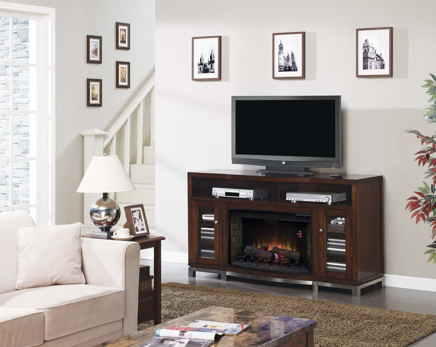 Fireplace amp tv stand in premium cherry finish with 23ef025gra electric - The Wesleyan Is A Contemporary Multi Function Media Cabinet With A Metal Base That