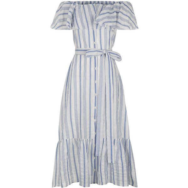 Lisa Marie Fernandez White Striped Cotton Mira Dress (€295) ❤ liked on Polyvore featuring dresses, white off the shoulder dress, white cap sleeve dress, stripe dress, striped off the shoulder dress and white dress