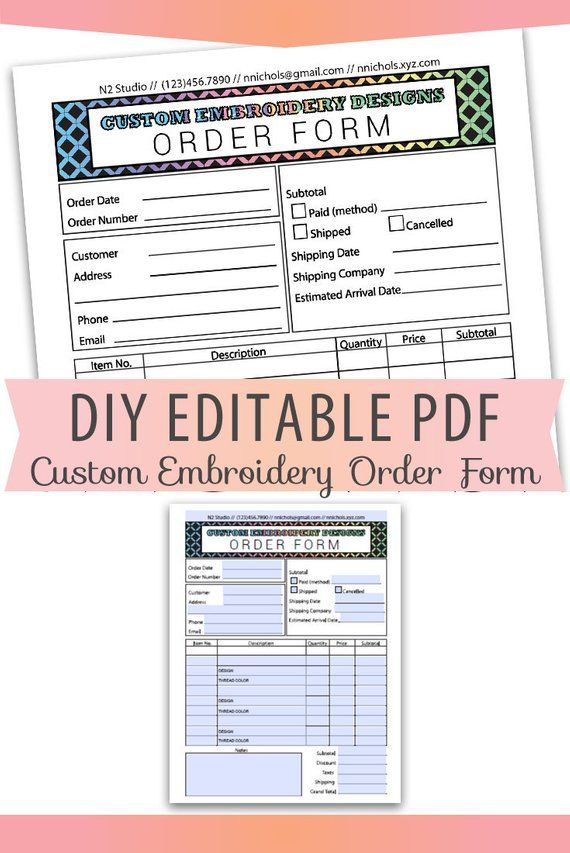 DIY Editable PDF embroidery Order Form Invoice Blank Letter Size