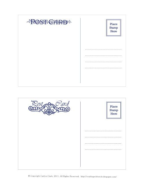 Crafting With Style Free Postcard Templates Postcards Pinterest
