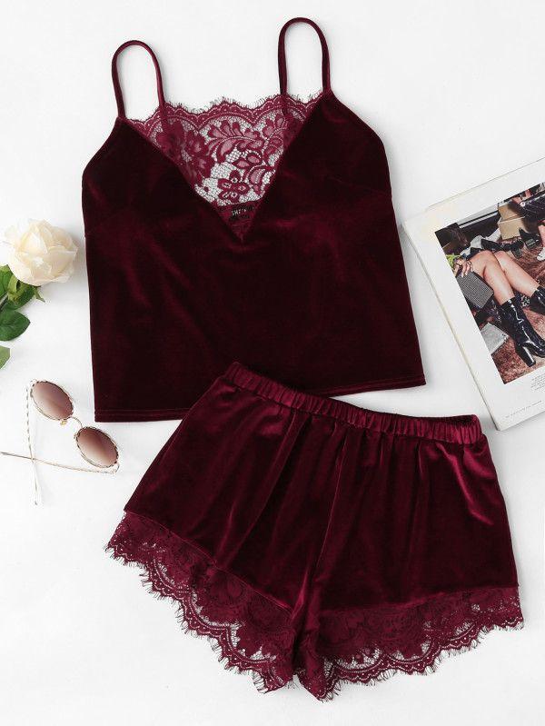 Lace Trim Velvet Cami   Shorts PJ Set -SheIn(Sheinside)  6c2510015cbfa
