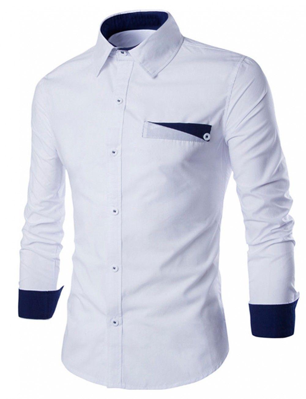 Men/'s Long Sleeve Button Down T-shirt Tops Slim Fit Casual Dress Stylish Shirts