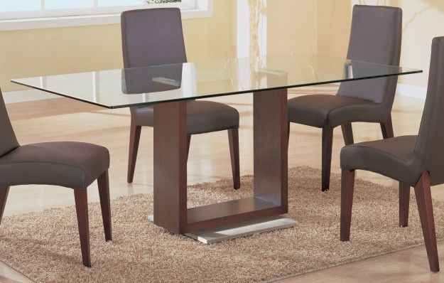 Simple Dining Table Furniture Design With Unique U Shaped Brown Wood