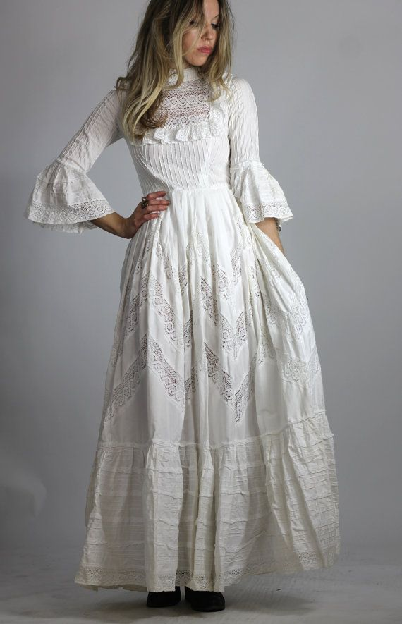 Vintage 60s Mexican Wedding Dress White Victorian Style Maxi Gown ...