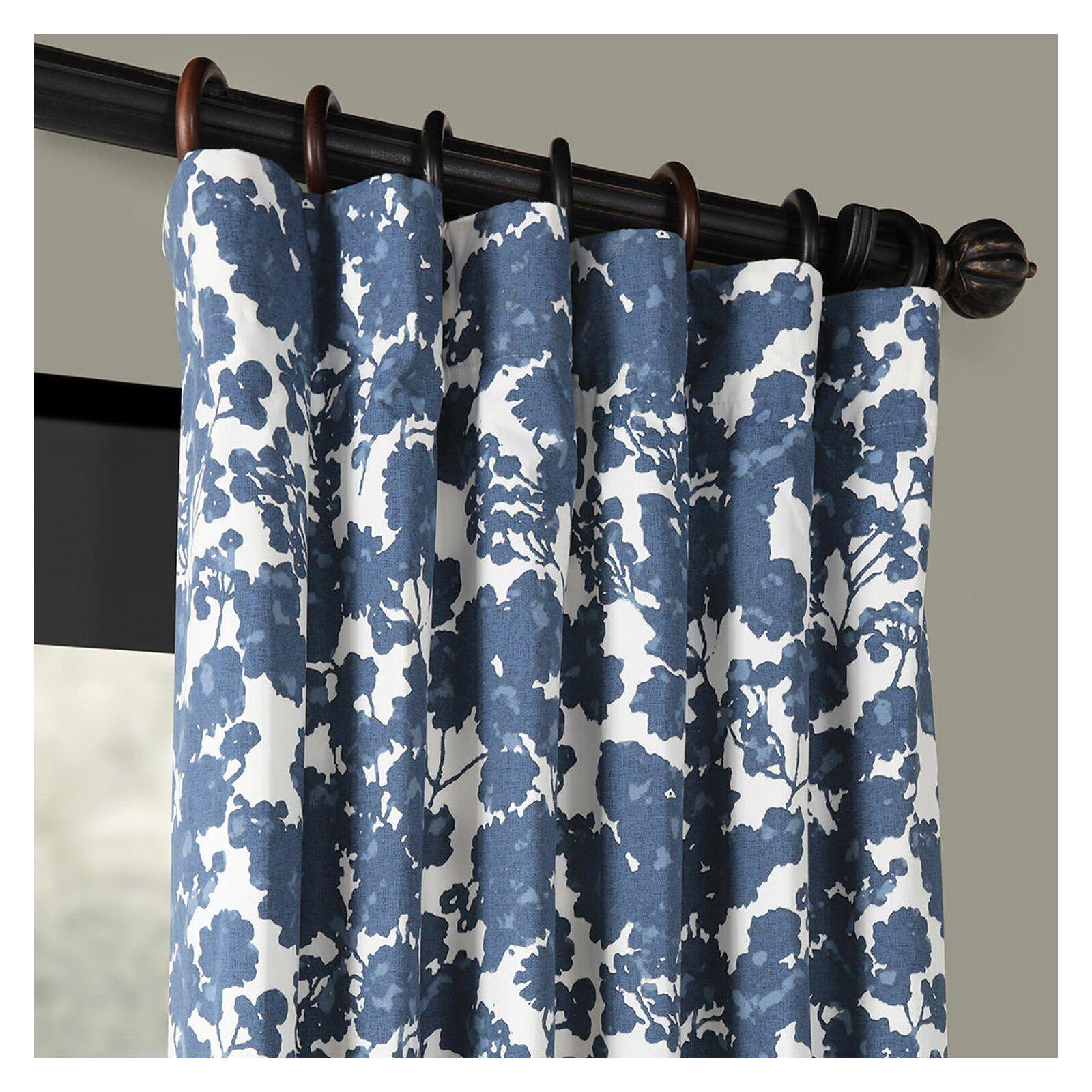 One Allium Way Olmeda Blue Printed Floral Room Darkening Thermal Rod Pocket Single Curtain P Blue Floral Curtains Blue And White Curtains Blue Pattern Curtains