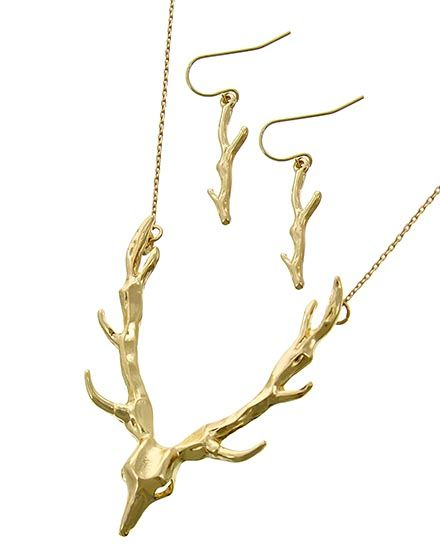 Deer Horns Necklace & Earrings Set
