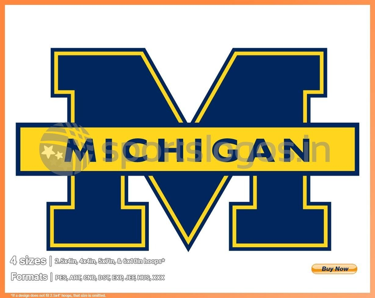 Michigan Wolverines College Sports Embroidery Logo In 4 Sizes