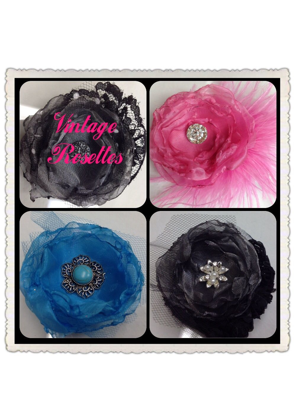 "2/1"" Vintage Rosettes.  Accessorize your little Diva at BowZ and More WWW.Facebook.com/NewBowzandMore"