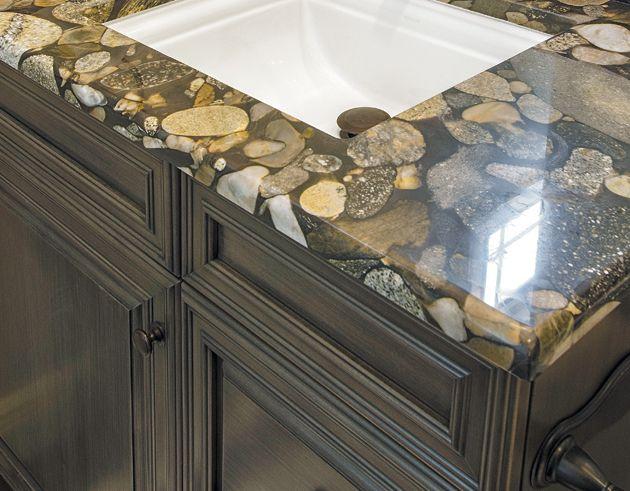 River Rock Granite Creates A Unique Countertop In This Tampa Bay Florida Bathroom Photo
