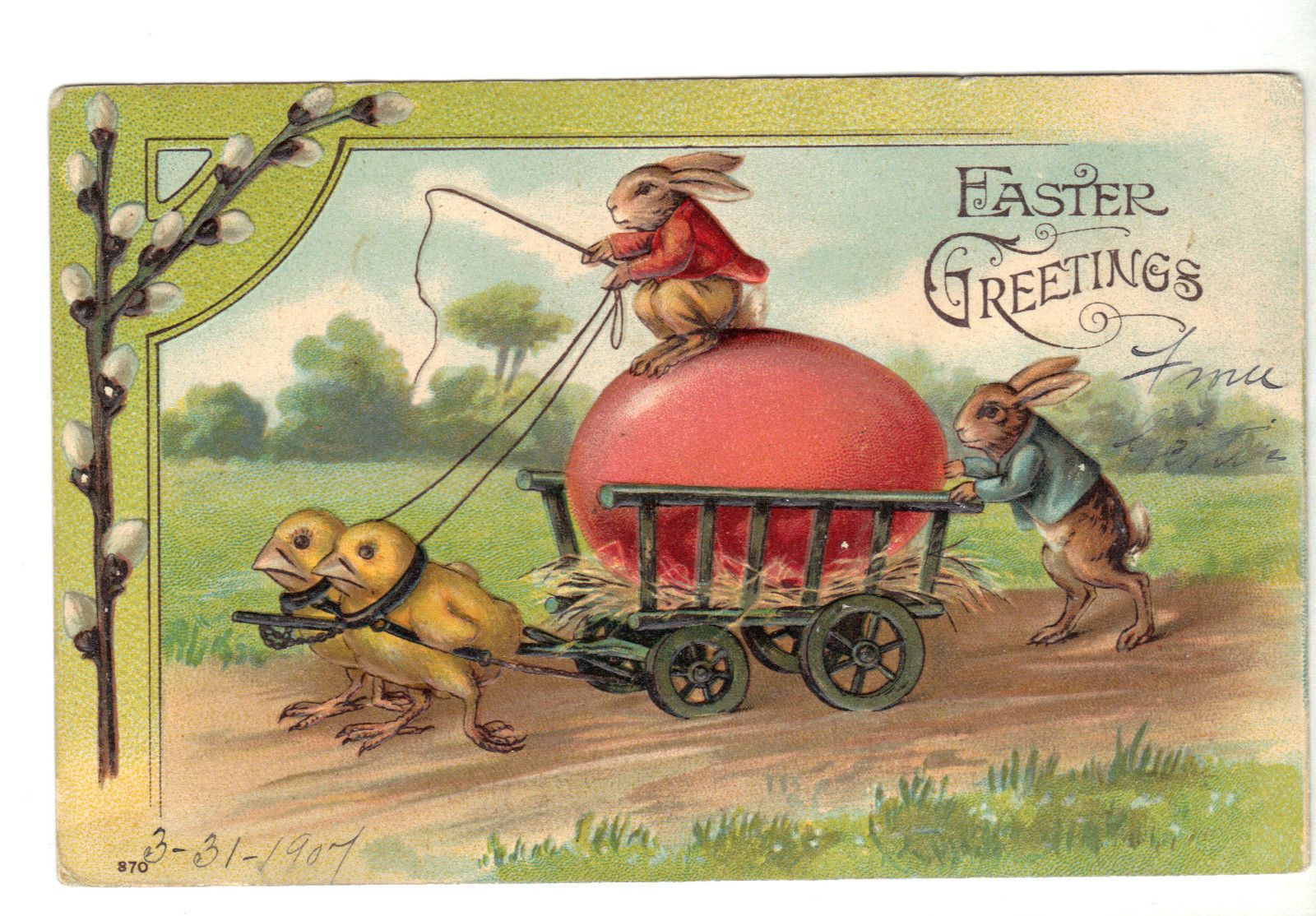 Dressed bunny rabbits and chicks carraige easter greeting
