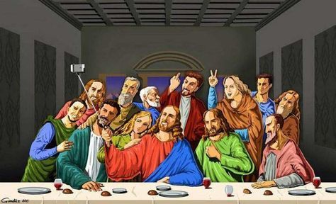 Jesus et ses apôtres, version 2015 Je n'ai pas encore trouvé la version actuelle avec le Dalaï-lama ou avec le Pape François. Merci de la poster en com, si vous trouvez. Bonne journée à tous et toutes. A propos, c'est J-21, pour l'anniversaire de Jésus,...