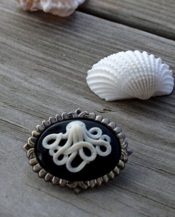 Octopus Brooch - Nautical Jewelry - Also works as a necklace pendant :) by cynicalredhead