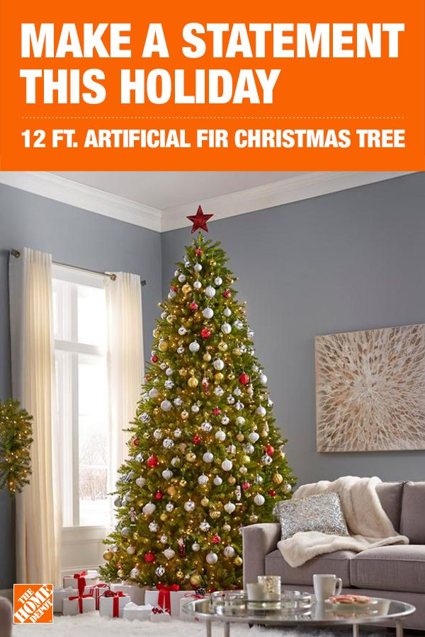 Home Accents Holiday 12 Ft Dunhill Fir Led Pre Lit Artificial Christmas Tree With 1500 White Mini Lights Duh3 120lo S The Home Depot Christmas Tree Holiday Decor Artificial Christmas Tree