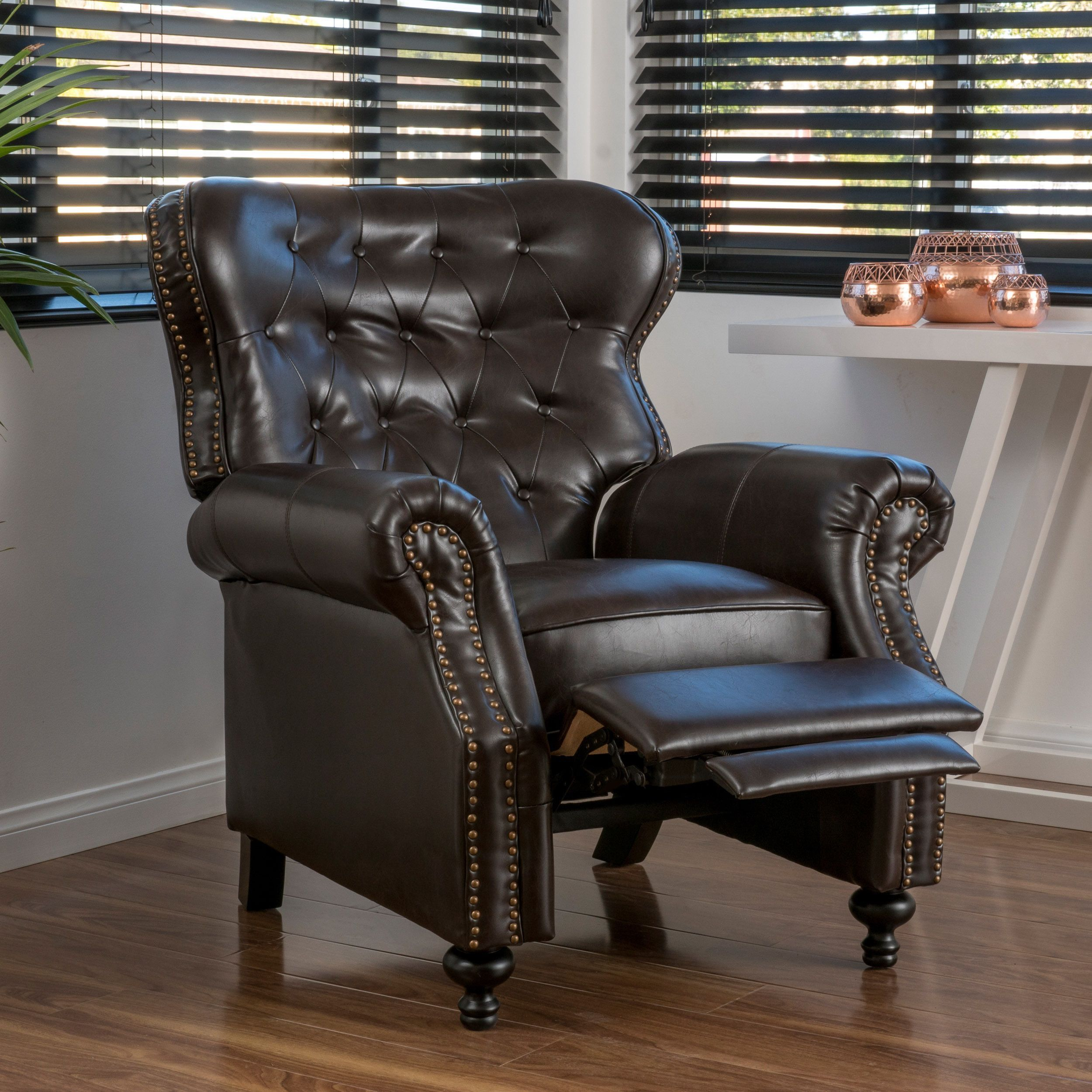 Walder Bonded Leather Recliner Club Chair By Christopher Knight Home  (Brown), Size Standard