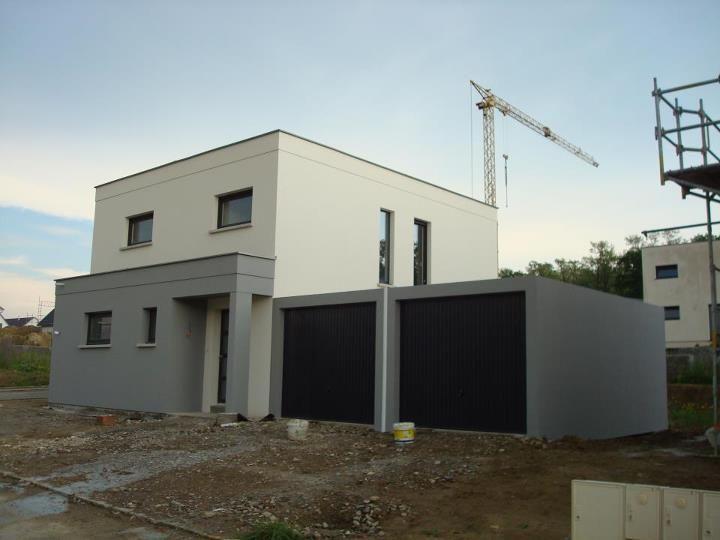 Notre maison toit plat 105 m2 par hmelanie sur for Facade maison cubique