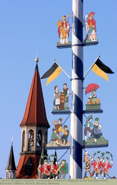 Maibaum Maypole At The Viktualienmarkt Bavarian Tradition Munich Bavaria Germany Maibaum Oktoberfest Munchen Oktoberfest