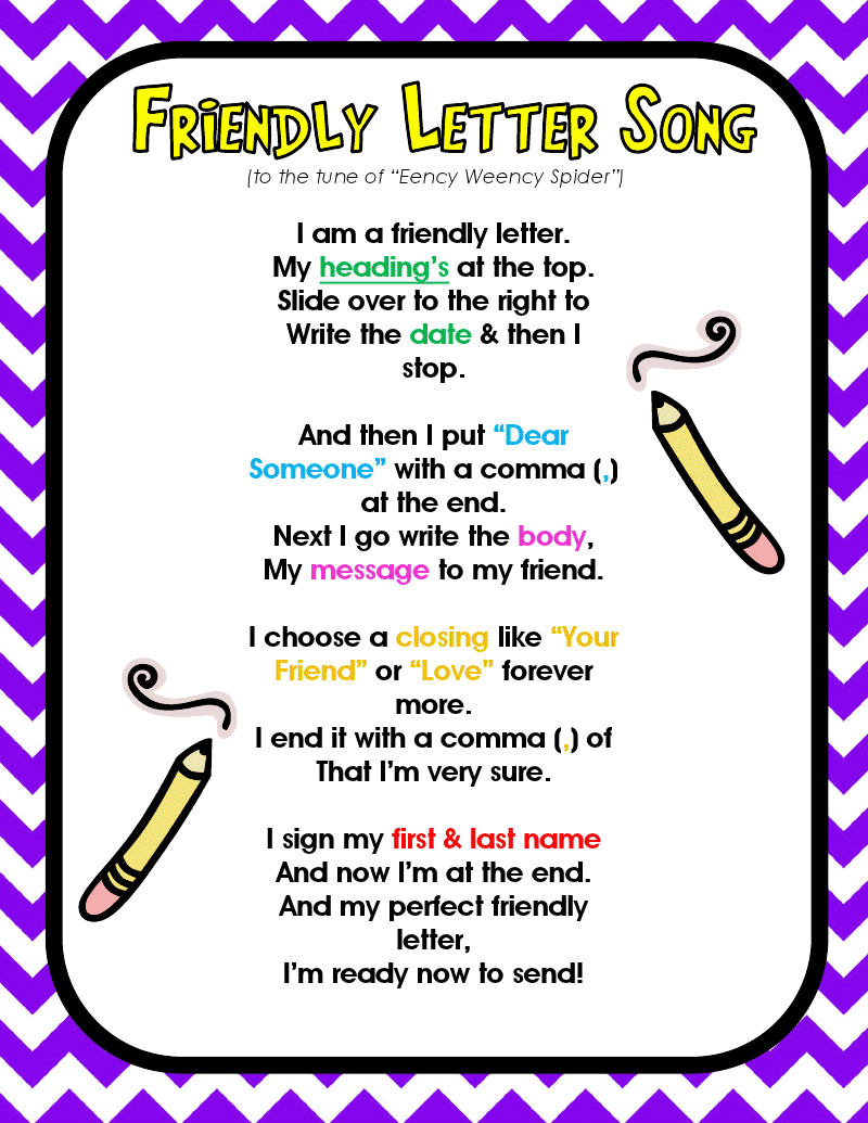 Friendly Letter Song  Second Grade    Letter Song