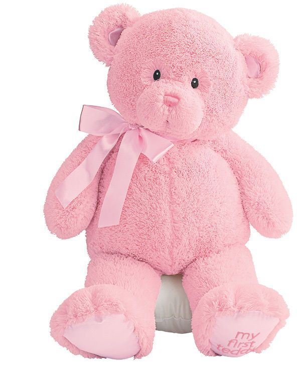 "BABY GUND BEAR -  14 - 15""  MY FIRST TEDDY - #21029 - BRIGHT PINK - SALE #GUNDBABY #TODDLERGIFT"