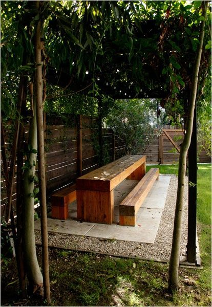 Love This Long Picnic Table Under A Pergola Backyard