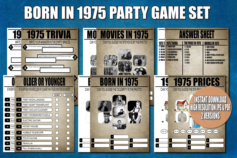 45th Birthday Party Games Born In 1975 45th Birthday Trivia 45th