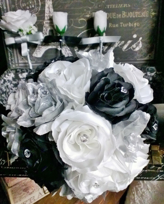 17 Piece Silver Black White Rose Wedding Set by SilkFlowersByJean ...