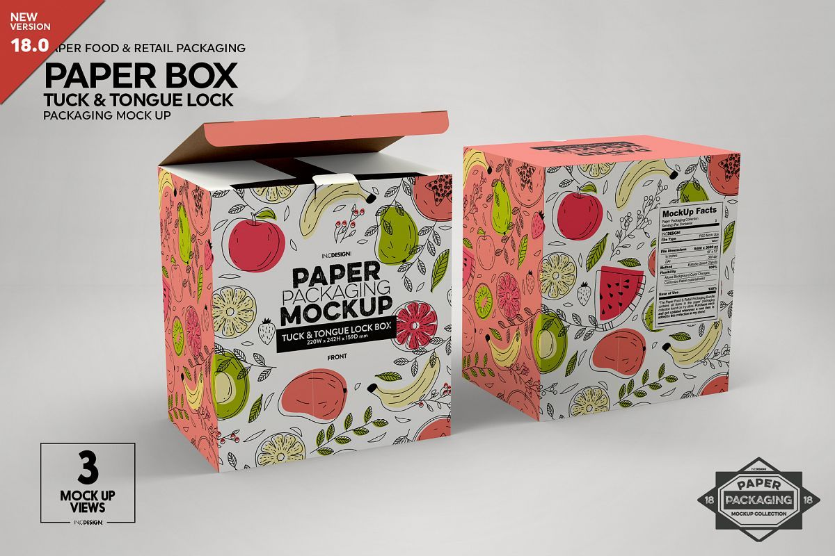 Download Paper Box Tuck Tongue Lock Packaging Mockup 352209 Branding Design Bundles Free Packaging Mockup Design Mockup Free Psd Mockup Template