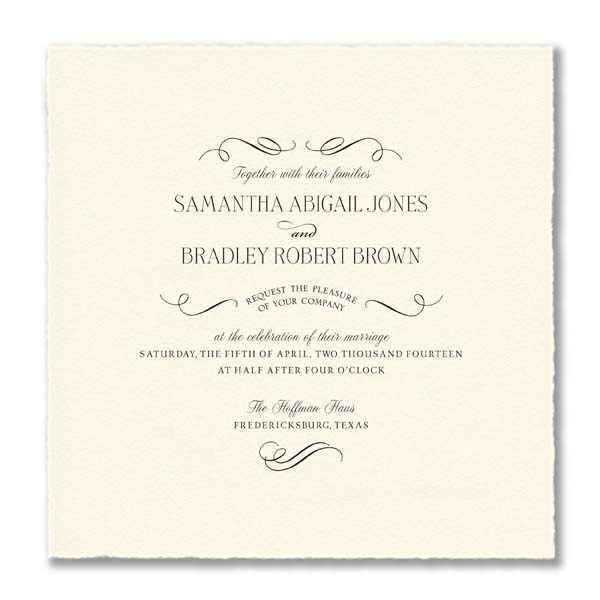 William Arthur Arturo Deckled Edge Ecru Square Wedding Invitations Wedding Invitations Wedding