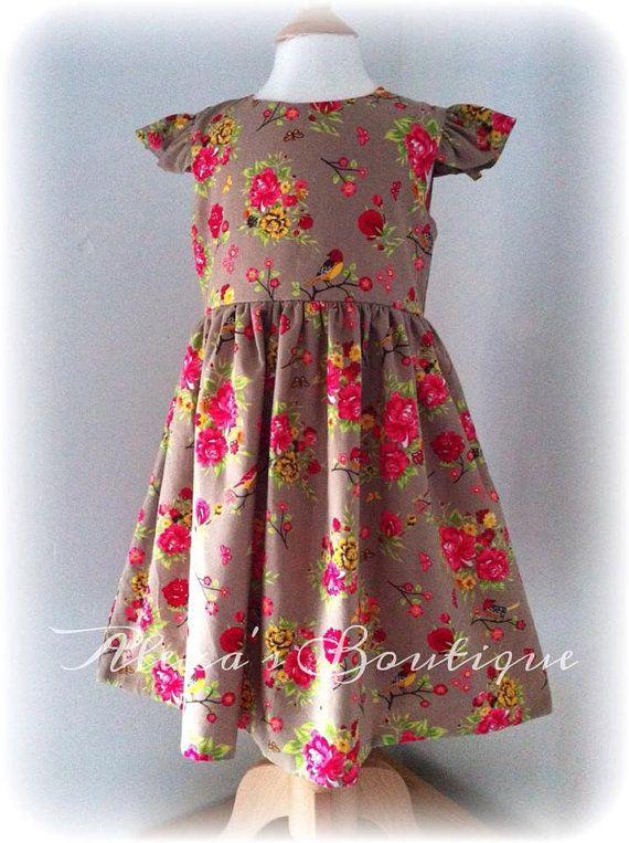Girls Handmade dress, Ditsy twitter, Kids Clothes, Floral Dress, Childrens wear, Pretty dress, Flower girl, bridesmaids, vintage style dress