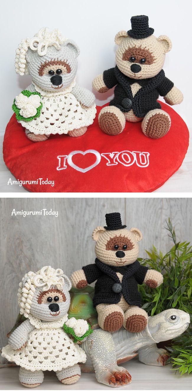 Amigurumi wedding bears: crochet pattern | Stricken und häkeln ...