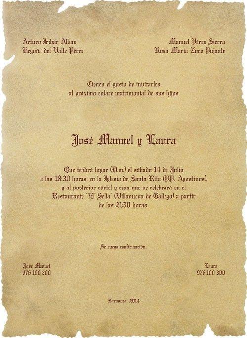 Una original invitación de boda en formato de antiguo pergamino