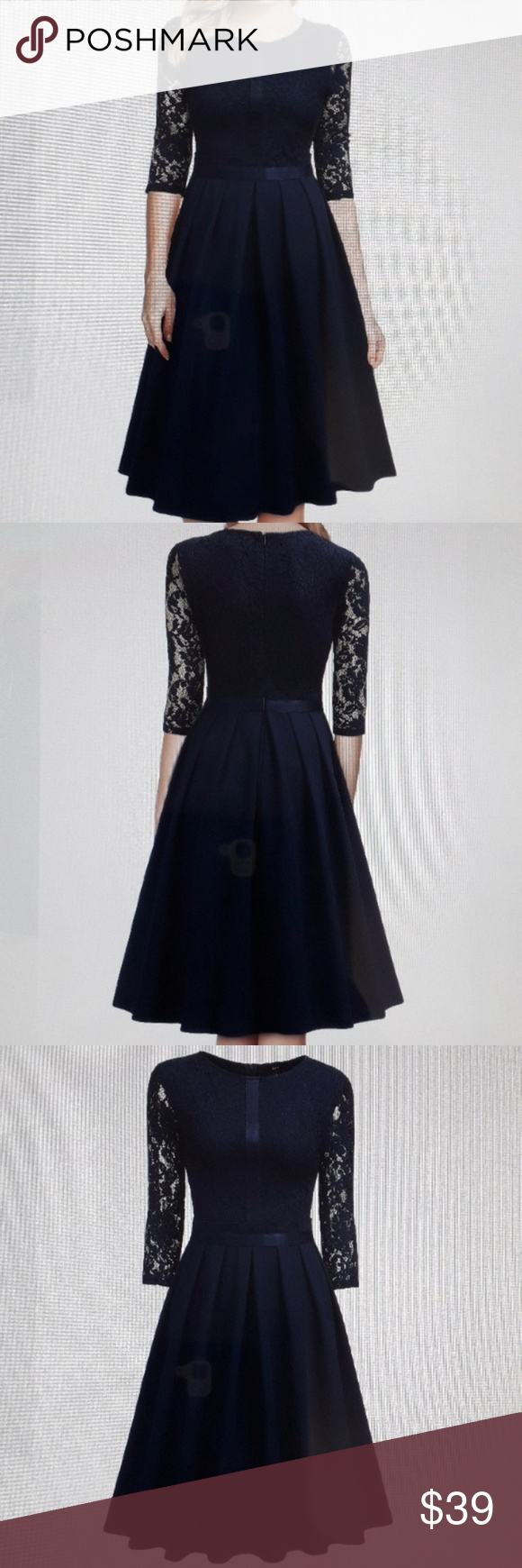 NWT Miusol Women's half floral lace DRess Final Asking Price NWT Miusol Women's half floral lace evening cocktail party dress in color Navy Blue Bust/Chest- 38