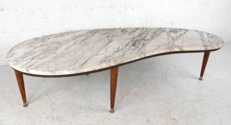 Mid Century Modern Italian Marble Kidney Shaped Coffee Table At In